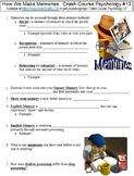 Crash Course Psychology #13 (How We Make Memories) worksheet