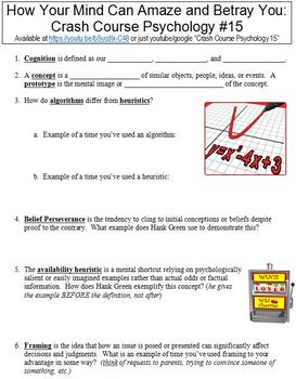 Crash Course Psychology #15 (How Your Mind Can Amaze and Betray You) worksheet