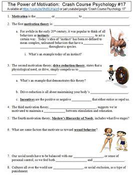 Crash Course Psychology #17 (The Power of Motivation) worksheet
