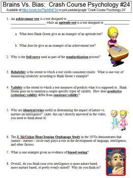 Crash Course Psychology #24 (Brains Vs. Bias) worksheet