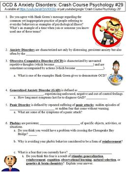 Crash Course Psychology #29 (OCD and Anxiety Disorders) worksheet