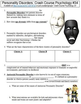 Crash Course Psychology #34 (Personality Disorders) worksheet