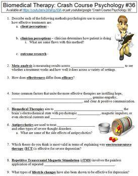Crash Course Psychology #36 (Biomedical Treatments) worksheet