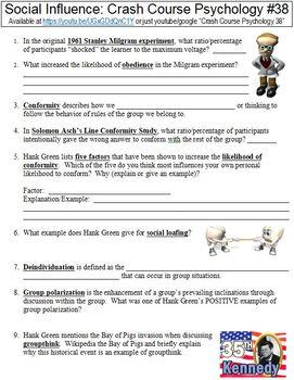 Crash Course Psychology #38 (Social Influence) worksheet