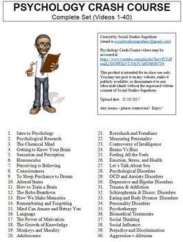 Crash Course Psychology Worksheets Complete Set (Full Collection Episodes 1-40)