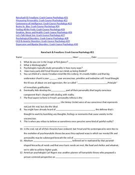 Psychology Episodes 21-30 Crash Course YouTube -  Video Questions