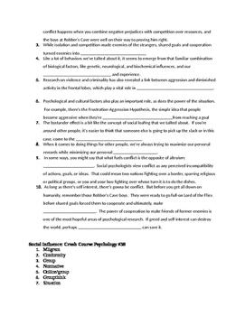 Crash Course Psychology Episodes 38-40 Youtube questions