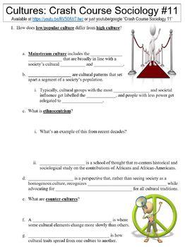 Crash Course Sociology #11 (Cultures) worksheet