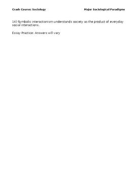 Crash Course Sociology #2 Major Sociological Paradigms - Video Questions