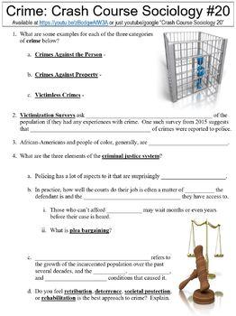 Crash Course Sociology #20 (Crime) worksheet