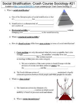 Crash Course Sociology #21 (Social Stratification) worksheet