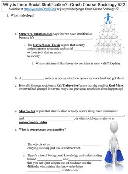 Crash Course Sociology #22 (Why is there Social Stratification?) worksheet
