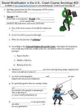 Crash Course Sociology #23 (Social Stratification in the U.S.) worksheet