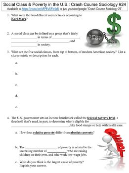 Crash Course Sociology #24 (Social Class & Poverty in the U.S.) worksheet