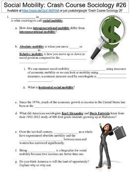 Crash Course Sociology #26 (Social Mobility) worksheet