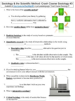 Crash Course Sociology #3 (Sociology & the Scientific Method) worksheet