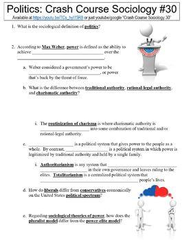 Crash Course Sociology #30 (Politics) worksheet