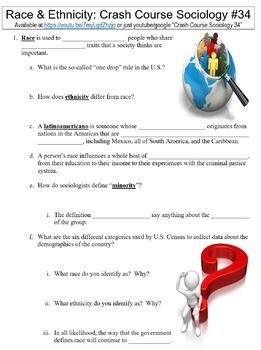 Crash Course Sociology #34 (Race & Ethnicity) worksheet