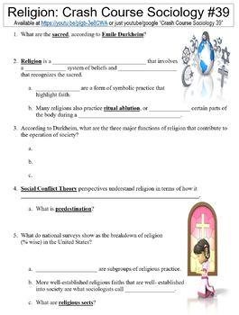 Crash Course Sociology #39 (Religion) worksheet