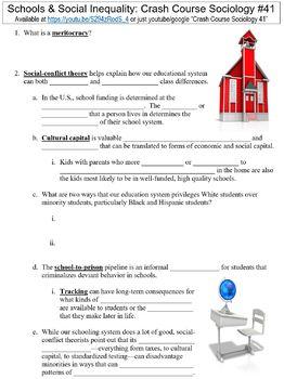 Crash Course Sociology #41 (Schools & Social Inequality) worksheet