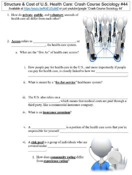 Crash Course Sociology #44 (Structure & Cost of U.S. Health Care) worksheet
