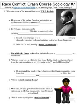 Crash Course Sociology #7 (Du Bois and Race Conflict) worksheet