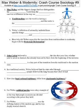 Crash Course Sociology #9 (Max Weber & Modernity) worksheet