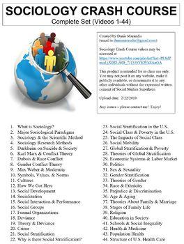 Crash Course Sociology Worksheets Complete Set (Full Bundle Collection)
