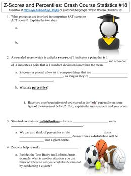 Crash Course Statistics #18 (Z-Scores and Percentiles) worksheet