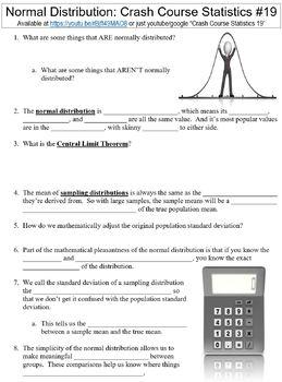 Crash Course Statistics #19 (The Normal Distribution) worksheet