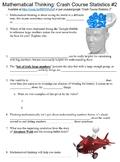 Crash Course Statistics #2 (Mathematical Thinking) worksheet