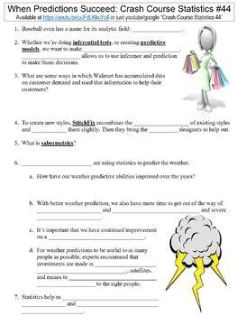 Crash Course Statistics #44 (When Predictions Succeed) worksheet