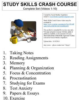 Crash Course Study Skills Worksheets Complete Set (Full Bundle Collection)