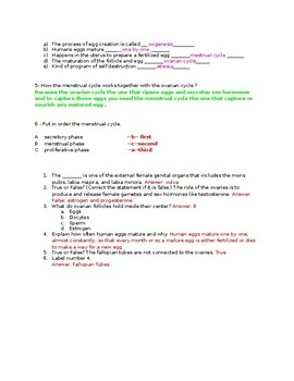 Crash Course The Reproductive System Worksheet Questions and KEY