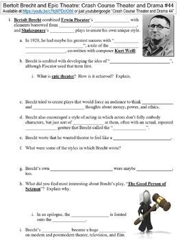 Crash Course Theater and Drama #44 (Bertolt Brecht and Epic Theatre) worksheet