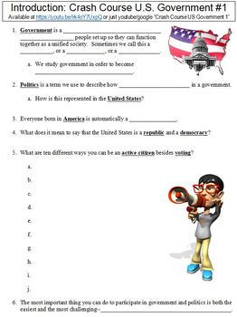 Crash Course U.S. Government #1 (Introduction) worksheet