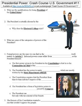 Crash Course U.S. Government #11 (Presidential Power) worksheet