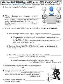 Crash Course U.S. Government #13 (Congressional Delegation) worksheet