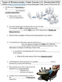 Crash Course U.S. Government #16 (Types of Bureaucracies) worksheet