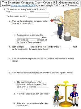 Crash Course U.S. Government #2 (The Bicameral Congress) worksheet