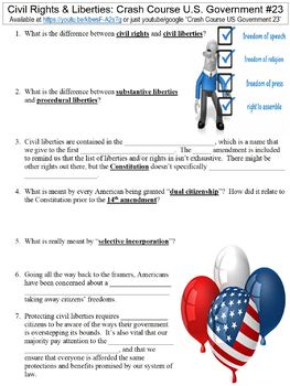 Crash Course U.S. Government #23 (Civil Rights & Liberties) worksheet