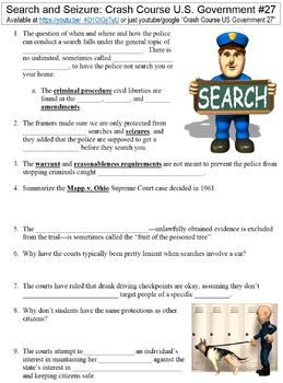 Crash Course U.S. Government #27 (Search and Seizure) worksheet