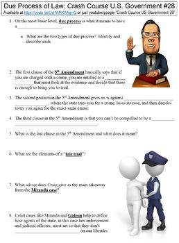 Crash Course U.S. Government #28 (Due Process of Law) worksheet