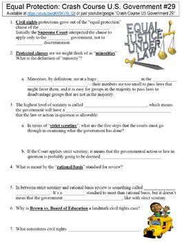 Crash Course U.S. Government #29 (Equal Protection) worksheet
