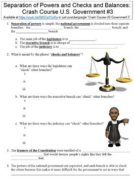 Crash Course U.S. Government #3 (Separation Powers/Checks & Balances) worksheet