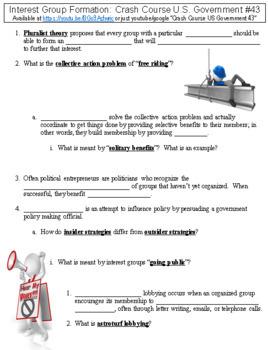 Crash Course U.S. Government #43 (Interest Group Formation) worksheet