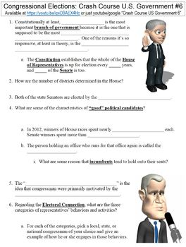 Crash Course U.S. Government #6 (Congressional Elections) worksheet