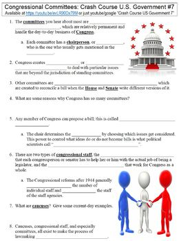 Crash Course U.S. Government #7 (Congressional Committees) worksheet