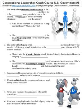 Crash Course U.S. Government #8 (Congressional Leaders) worksheet