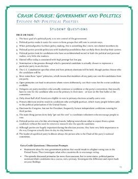 Crash Course U.S. Government Worksheets -- 20 EPISODE BUNDLE -- Episodes 31-50